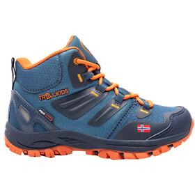 TROLLKIDS Rondane Hiker Botas Corte Medio Niños, azul/naranja